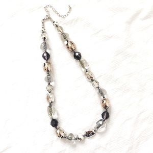 Silver Black Assorted Faceted Beaded Stmt Necklace